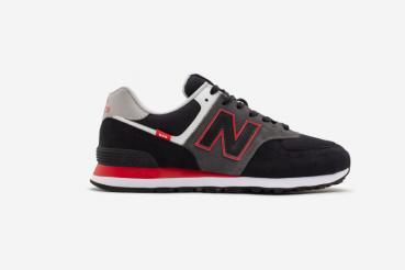 ML574SM2, Herren Sneaker, schwarz mit rot, New Balance
